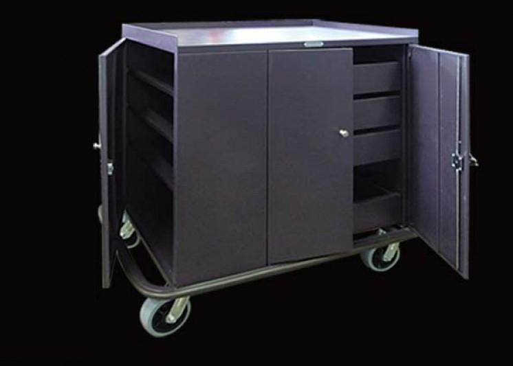 Trolley Mini Bar 4Drawer Brown Lockable H1170xL1180xW650