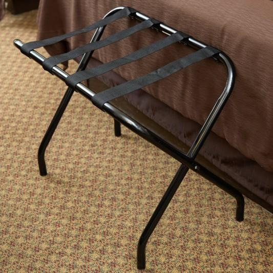 CSL 155BL BL 1 Metal Folding Flat Top Luggage Rack with Black Finish and Black Straps