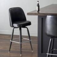Lancaster Table & Seating Deluxe Black Barstool with 19 Wide Bucket Seat