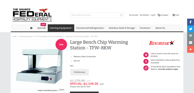 Large Bench Chip Warming Station TFW 8KW