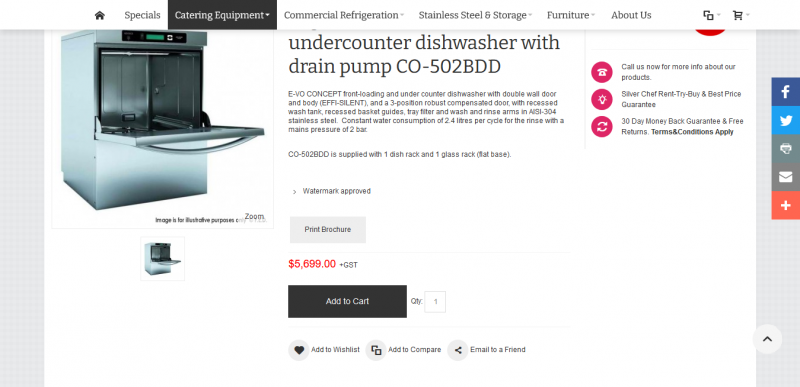Fagor EVO CONCEPT undercounter dishwasher with drain pump detergent and rinse dispenser CO 502BDD
