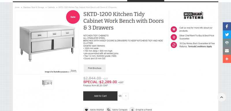 SKTD 1200 Kitchen Tidy Cabinet Work Bench with Doors 3 Drawers