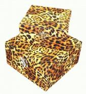 2 x Leopard Fabric Covered Storage Boxes 18cm 22cm