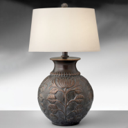 30 Inch Antique Bronze Resin Table Lamp