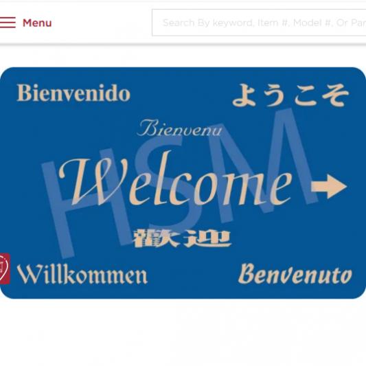 7 Language Welcome Key Card, Blue