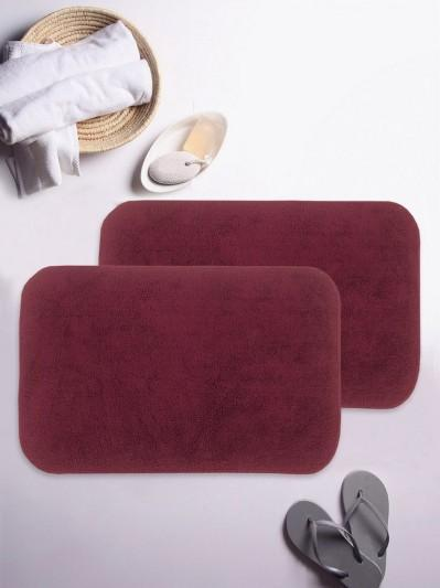 BIANCA Soft-Cotton Bath Mat With Rubber Back2pc Small (benz) solid-maroon
