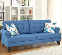 Fabric Three Seater Sofa in Blue Colour