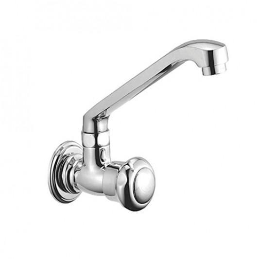 ALTON Shine 3075 Brass Sink Cock With Swinging Spout/Wall Mounted, Sink Tap (Chrome)