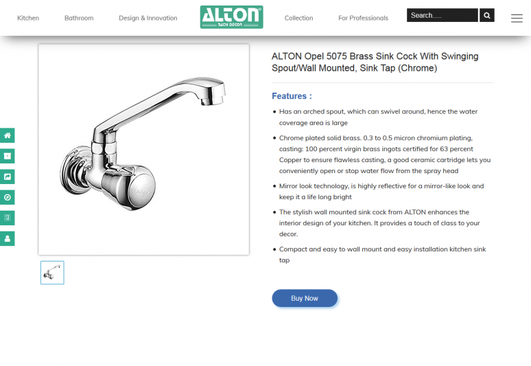 ALTON Opel 5075 Brass Sink Cock With Swinging Spout/Wall Mounted, Sink Tap (Chrome)