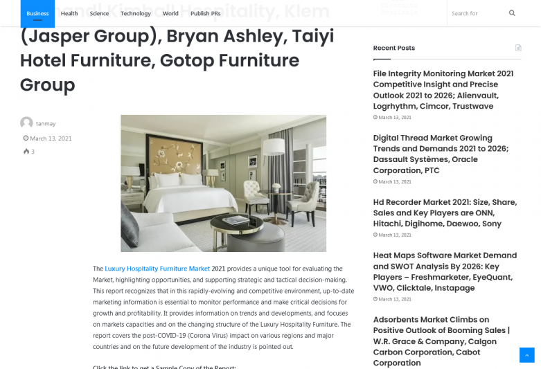 Luxury Hospitality Furniture Market 2021 Emerging Trends and Global Demand| Kimball Hospitality, Klem (Jasper Group), Bryan Ashley, Taiyi Hotel Furniture, Gotop Furniture Group KSU