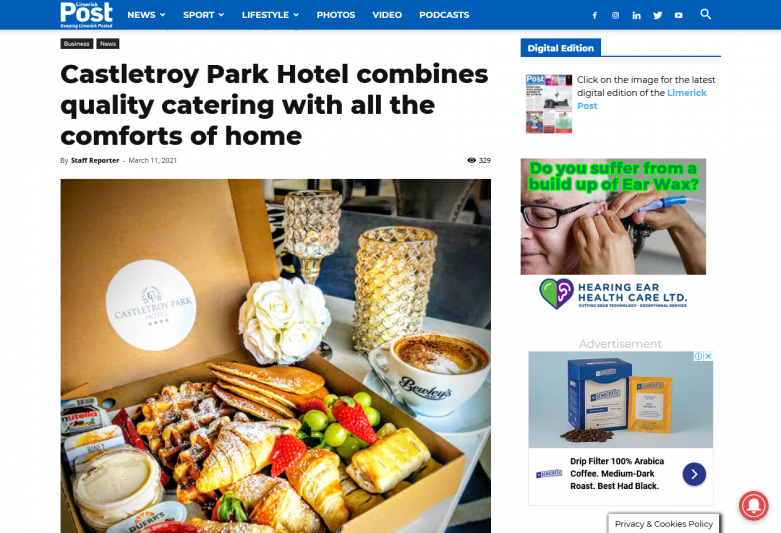Castletroy Park Hotel combines quality catering with all the comforts of home