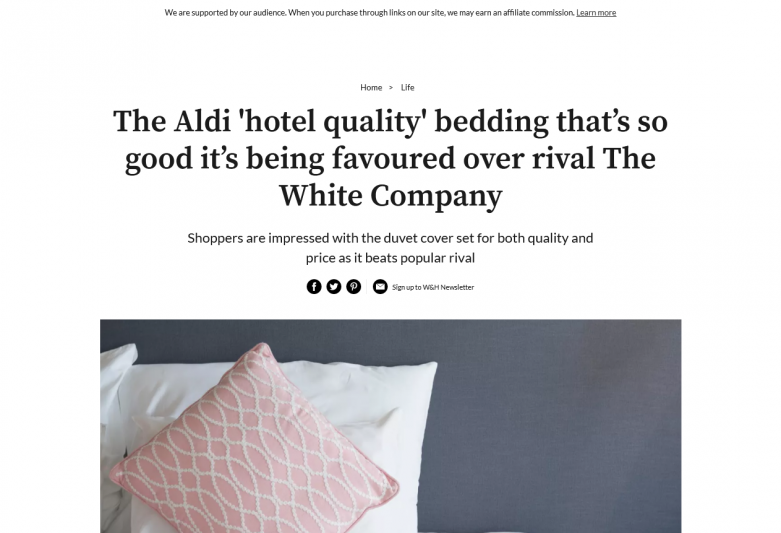 The Aldi 'hotel quality' bedding that's so good it's being favoured over rival The White Company