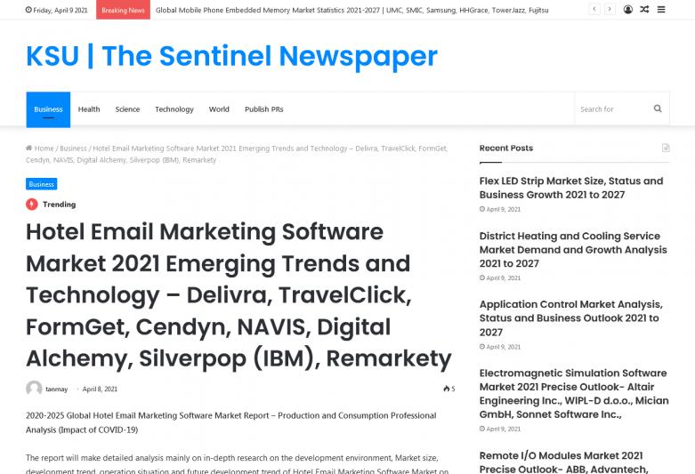 Hotel Email Marketing Software Market 2021 Emerging Trends and Technology – Delivra, TravelClick, FormGet, Cendyn, NAVIS, Digital Alchemy, Silverpop (IBM), Remarkety KSU