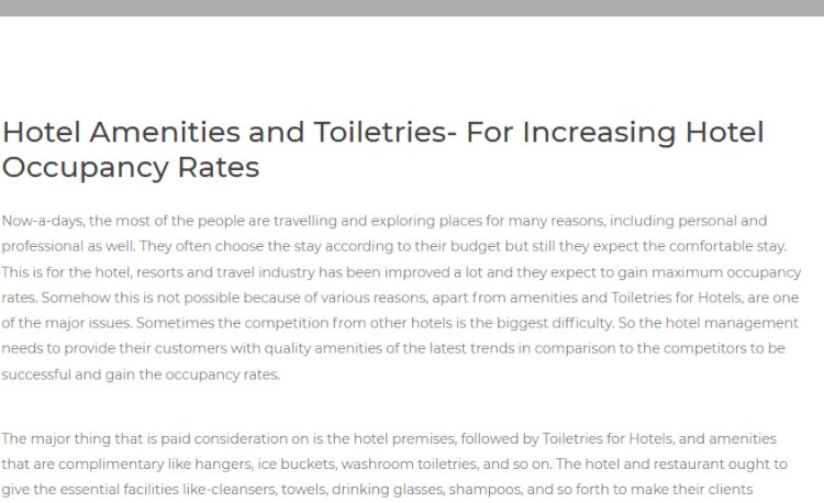 Hotel Amenities and Toiletries- For Increasing Hotel Occupancy Rates