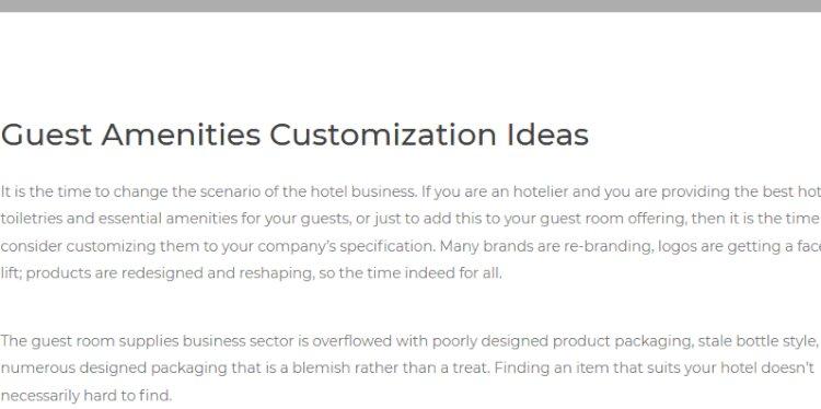 Guest Amenities Customization Ideas