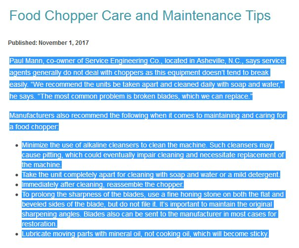 Food Chopper Care and Maintenance Tips