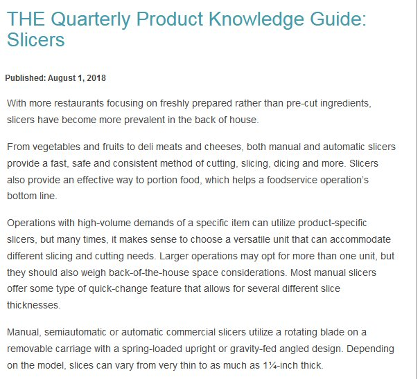 THE Quarterly Product Knowledge Guide: Slicers