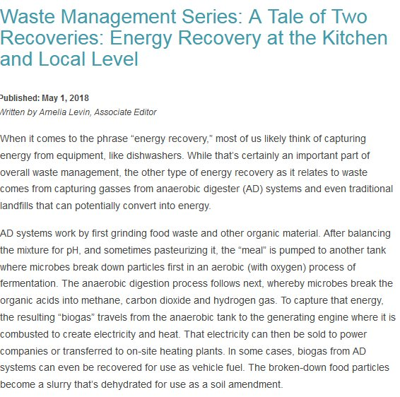 Waste Management Series: A Tale of Two Recoveries: Energy Recovery at the Kitchen and Local Level