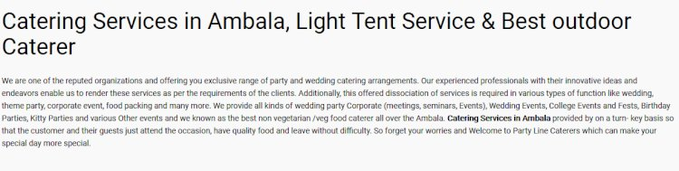 Catering Services in Ambala, Light Tent Service & Best outdoor Caterer