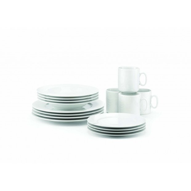 Gift set of 16 pieces dinnerware : soup plates, desserts plates dinner plates and mugs classique style French classic