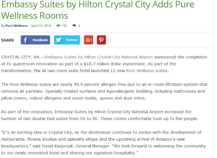 Embassy Suites by Hilton Crystal City Adds Pure Wellness Rooms