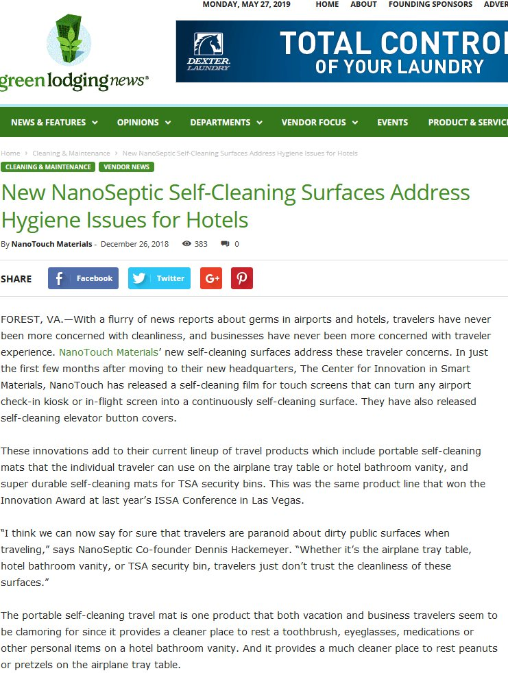 New NanoSeptic Self-Cleaning Surfaces Address Hygiene Issues for Hotels