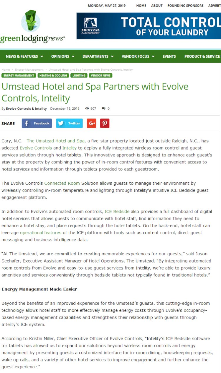 Umstead Hotel and Spa Partners with Evolve Controls, Intelity