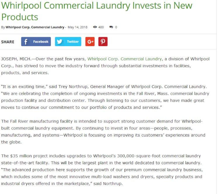 Whirlpool Commercial Laundry Invests in New Products