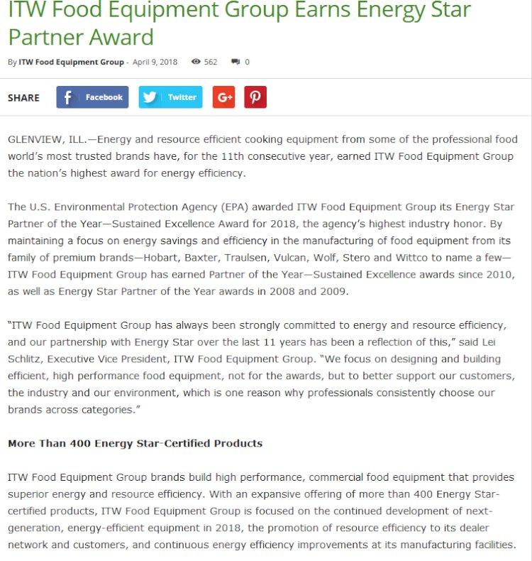 ITW Food Equipment Group Earns Energy Star Partner Award