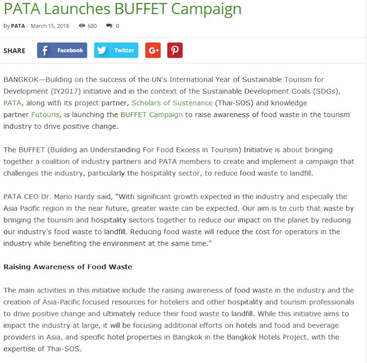 PATA Launches BUFFET Campaign