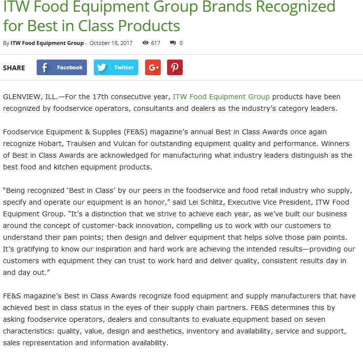 ITW Food Equipment Group Brands Recognized for Best in Class Products