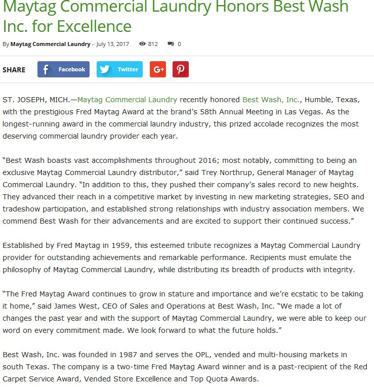 Maytag Commercial Laundry Honors Best Wash Inc. for Excellence