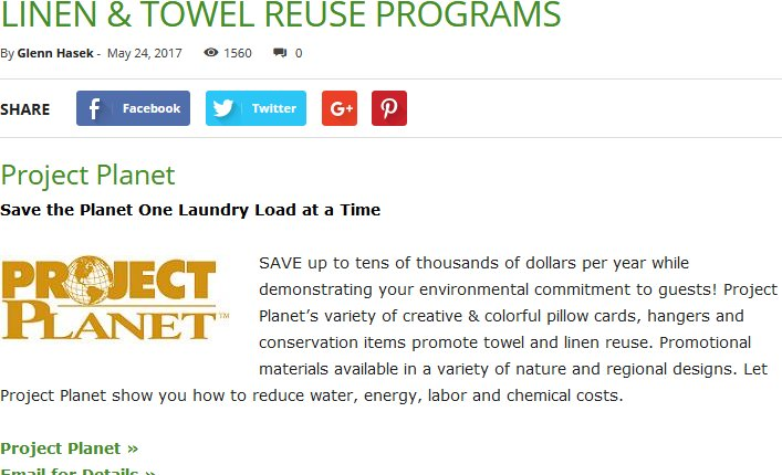 LINEN & TOWEL REUSE PROGRAMS