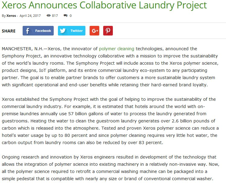Xeros Announces Collaborative Laundry Project