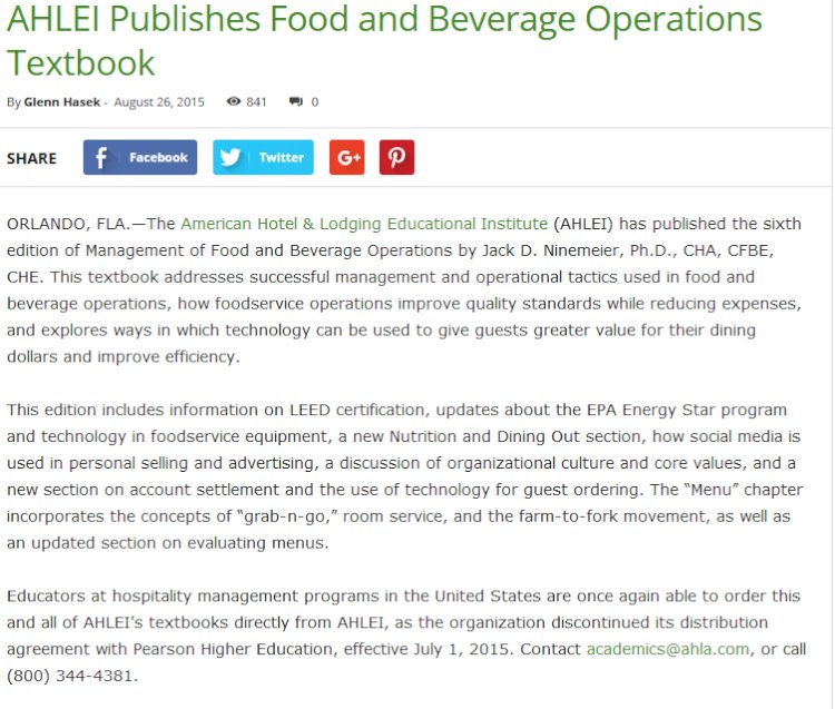 AHLEI Publishes Food and Beverage Operations Textbook