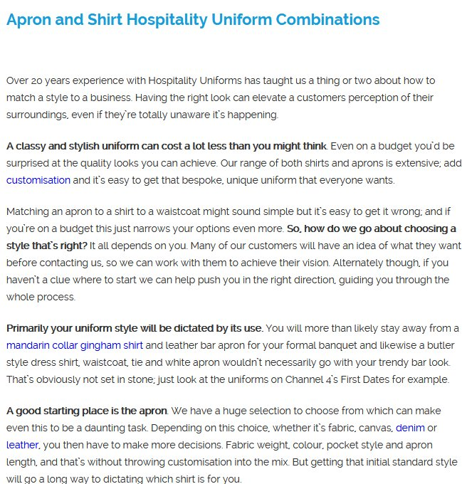 Apron and Shirt Hospitality Uniform Combinations