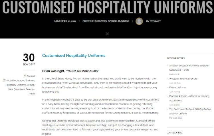 Customised Hospitality Uniforms