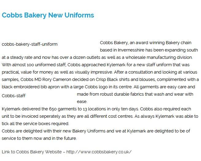 Cobbs Bakery New Uniforms