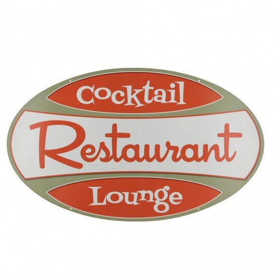 Restaurant Cocktail Lounge Retro Metal Bar Sign