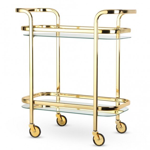 Viski Belmont Two-Tiered Bar Cart with Mirrored Shelves - Gold Plated Stainless Steel