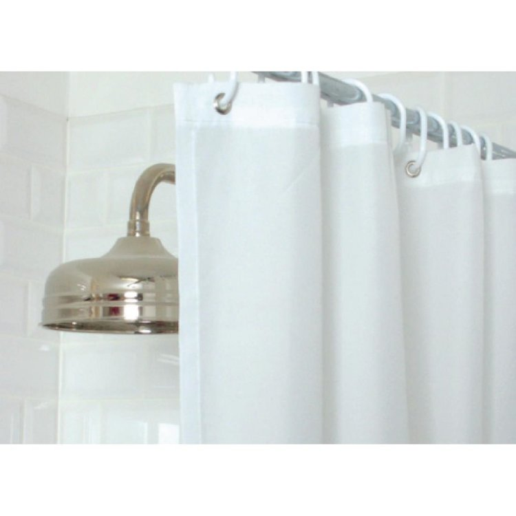 Essentials Plain Shower Curtain White
