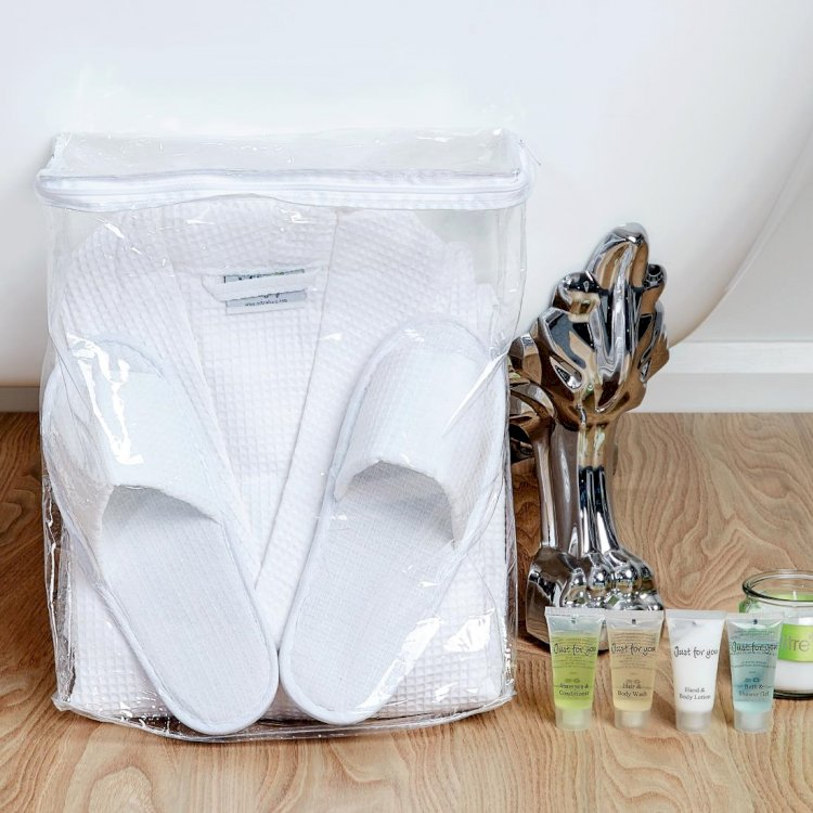 Comfort Langley Bathrobe and Slipper Set with Storage Bag