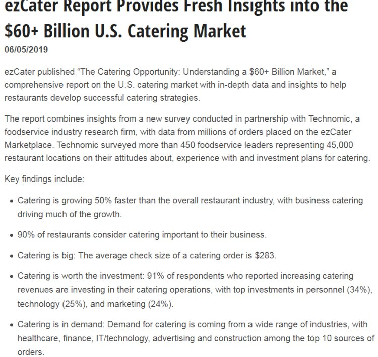 ezCater Report Provides Fresh Insights into the $60+ Billion U.S. Catering Market