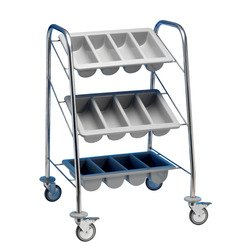 Cutlery Trolley 3 Containers - Black Frame