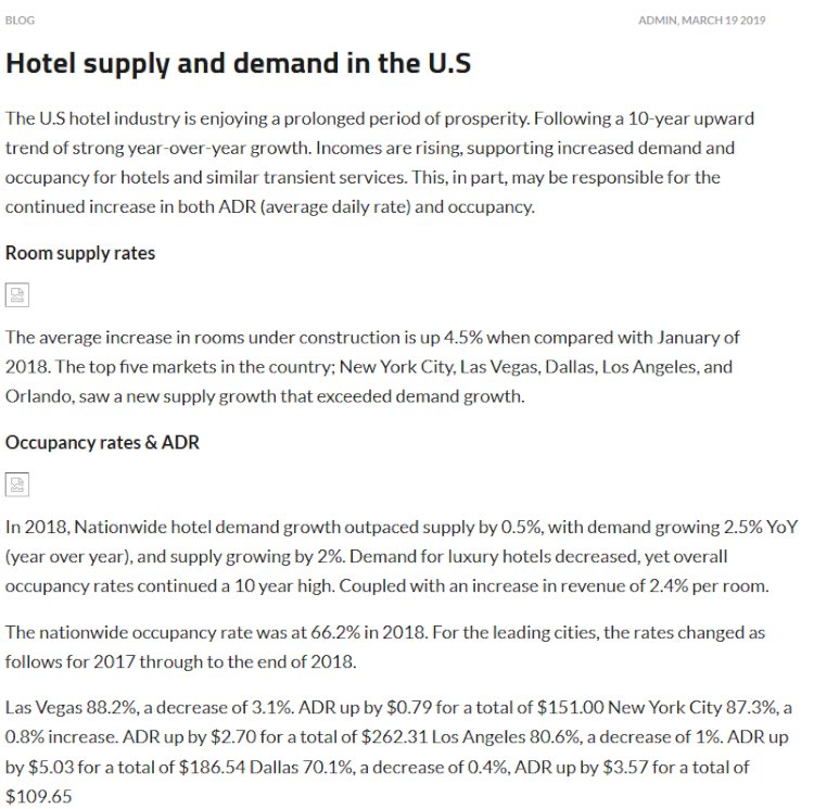 Hotel supply and demand in the U.S