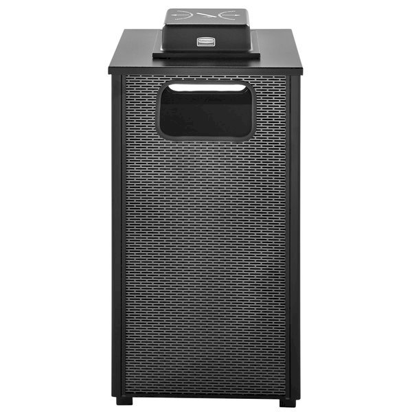 Rubbermaid FGR18WU500PL Dimension 500 Series Black with Anthracite Perforated Steel Panels Square Steel Ash/Trash Receptacle with Weather Urn and Rigid Plastic Liner 24 Gallon