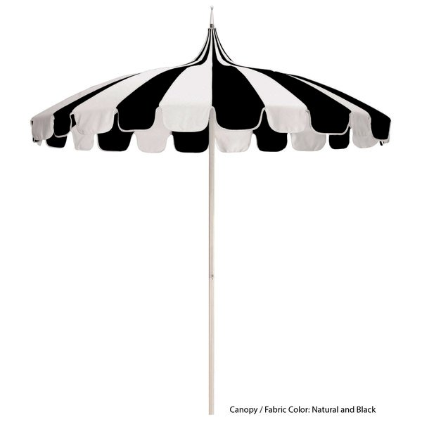 California Umbrella SMPT 852 SUNBRELLA 1 Pagoda 8 1/2' Round Push Lift Umbrella with 1 1/2