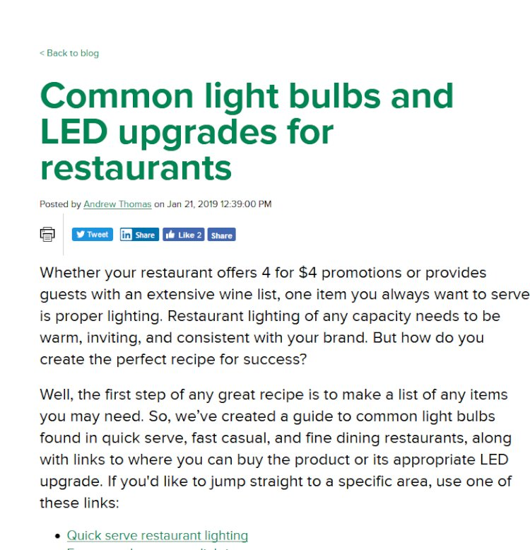 Common light bulbs and LED upgrades for restaurants