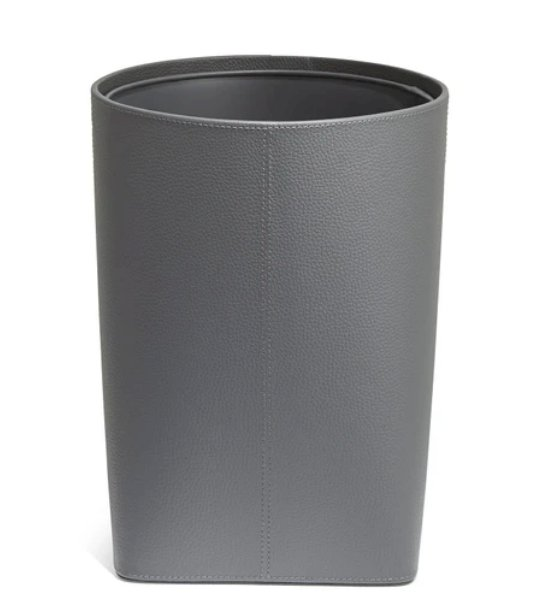 Paradigm Trends Clinton Guest Room Wastebasket, Gray Leatherette