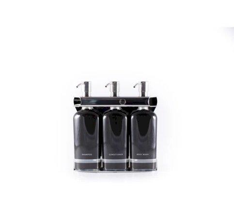 Custom Logoed Aquamenities Three-Bottle Amenity Dispenser, Stainless Steel